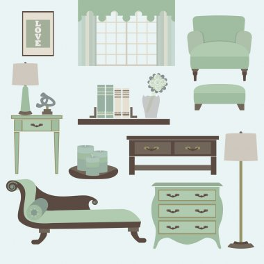 Living room furniture and accessories in light teal