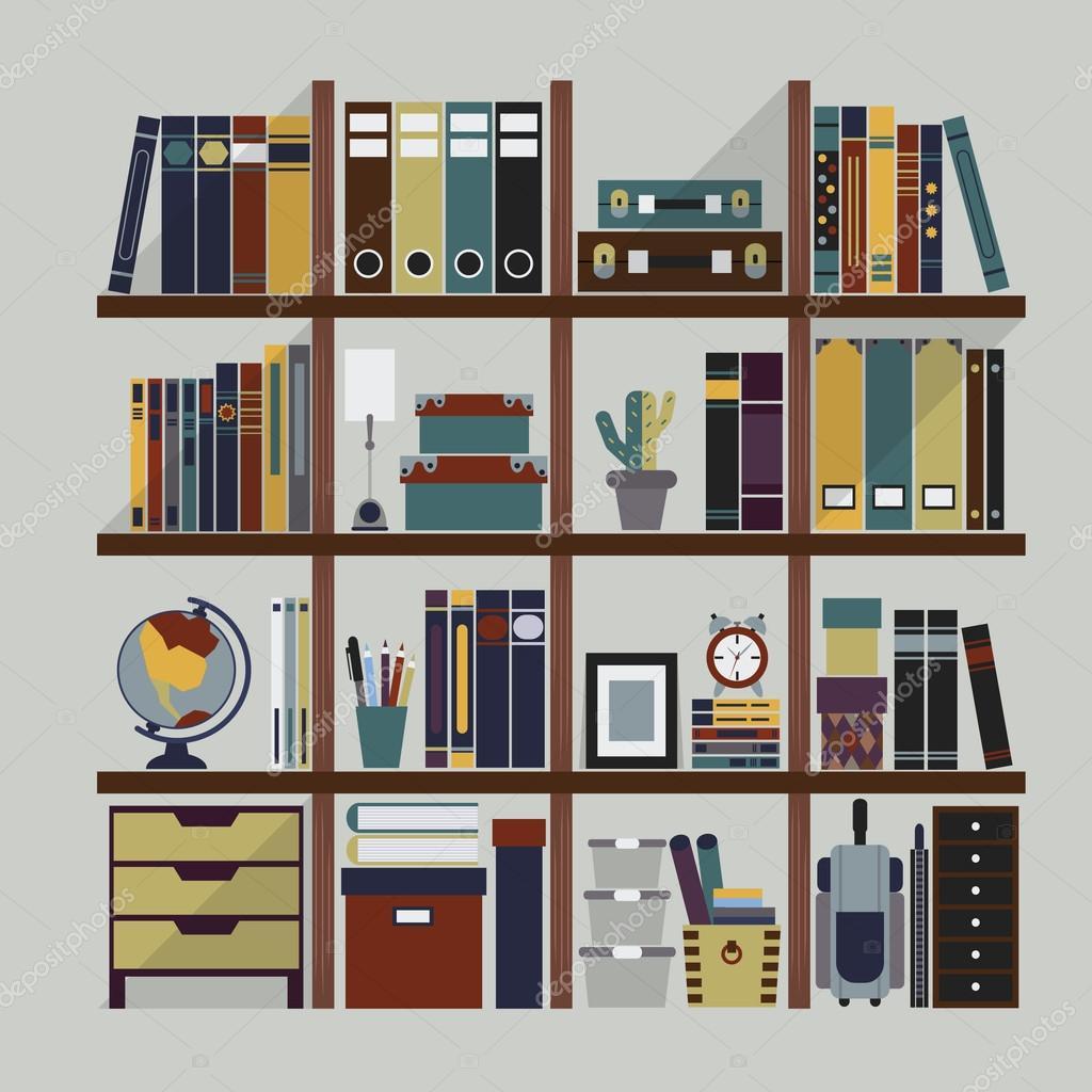 houten boekenplank met boeken en decoratie voorwerpen — Stockvector ...