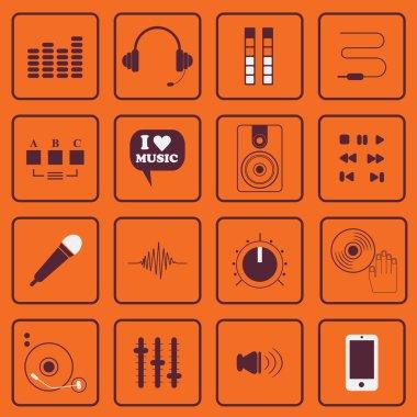 DJ, sound, and music flat icons set