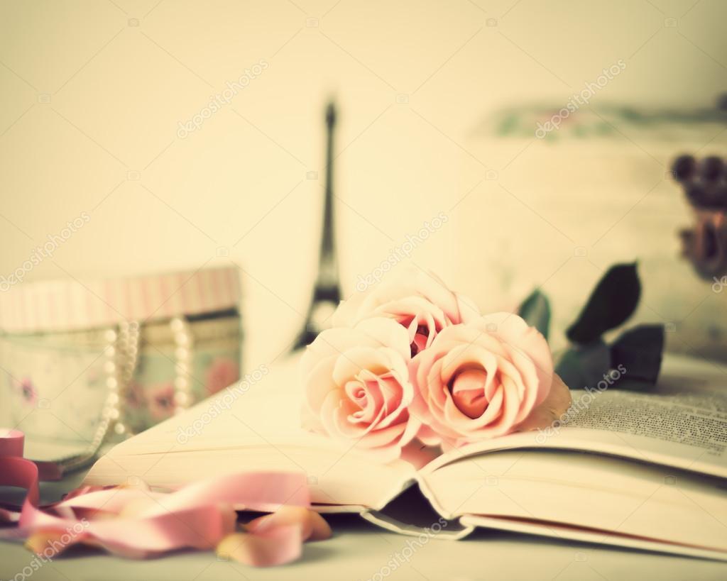 Vintage Roses on book