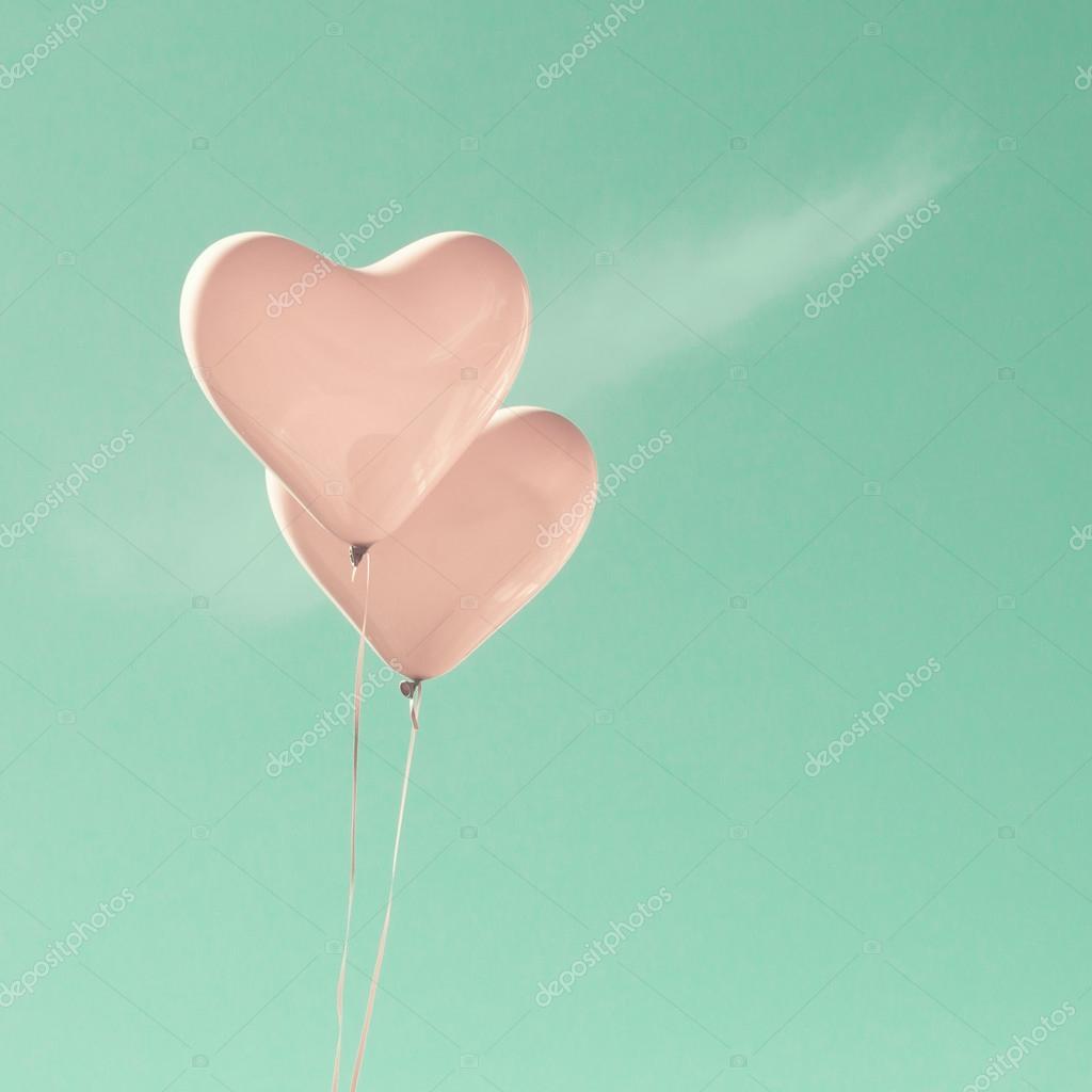 Love Balloons on Mint Sky
