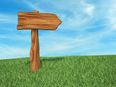 Directional sign wood
