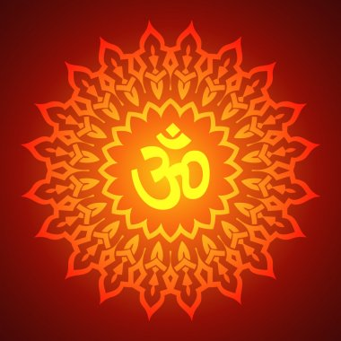Om Sign on Decorative Mandala Background