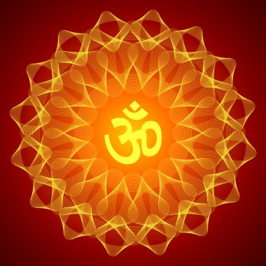 Spiritual Om On Mandala Background