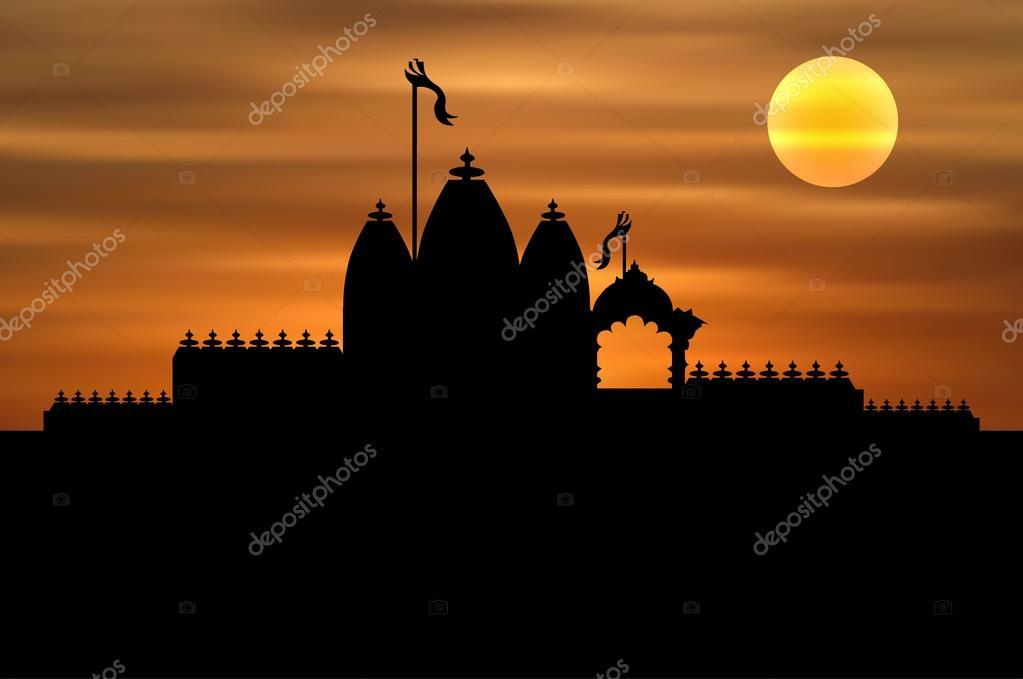 Hindu Temple on Sunset Background — Stock Vector © mahesh14