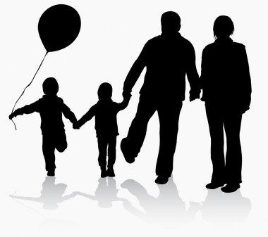 Grandparents with grandchildren silhouettes