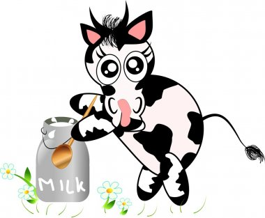 Cow with jug of milk
