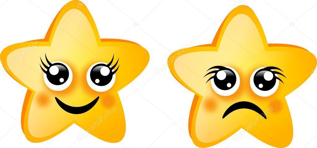 Estrella Cara Feliz Estrellas De Oro Foto De Stock