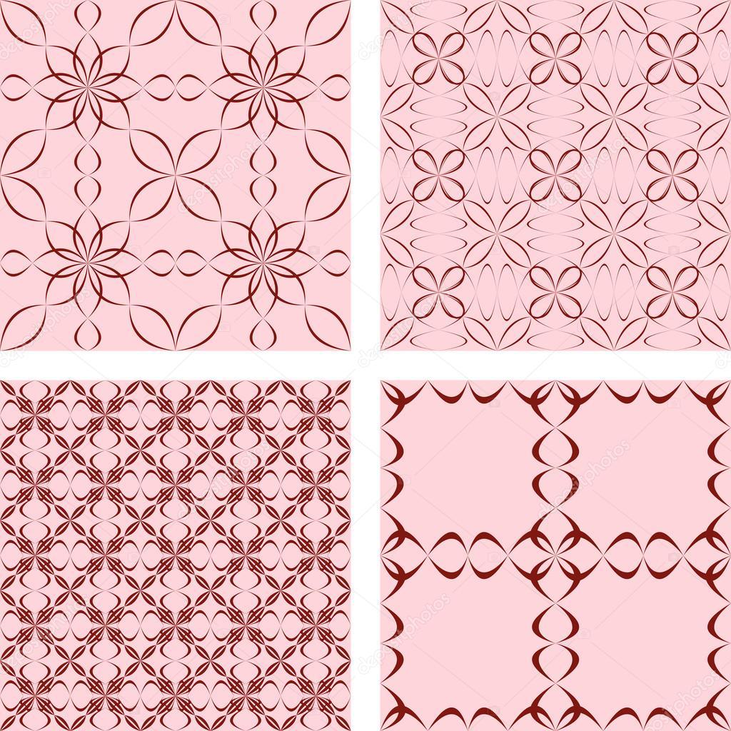 Maroon nahtlose geschwungene Muster-set — Stockvektor © davidzydd ...