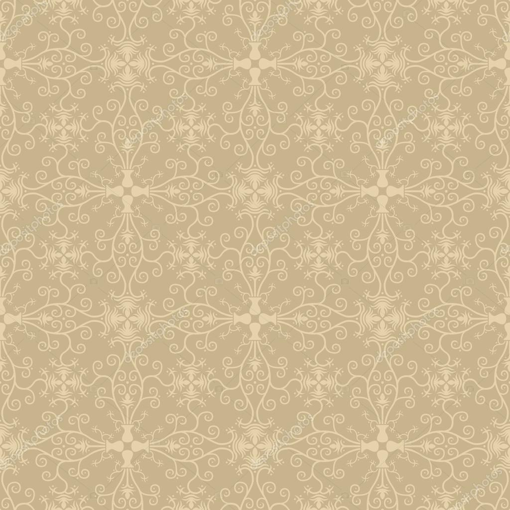 Seamless Symmetric Vintage Floral Wallpaper Stock Vector
