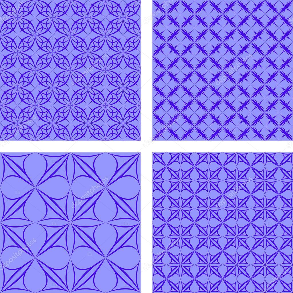 Blue Seamless Gothic Wallpaper Set Stock Vector Davidzydd 51374493