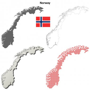 Norway map outline set