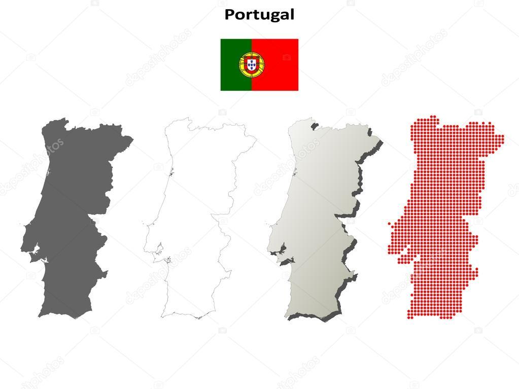 Portugal map outline set