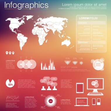 Vector world map illustration and infographics design template. flat modern style. Easy to edit country. White infographics on color background