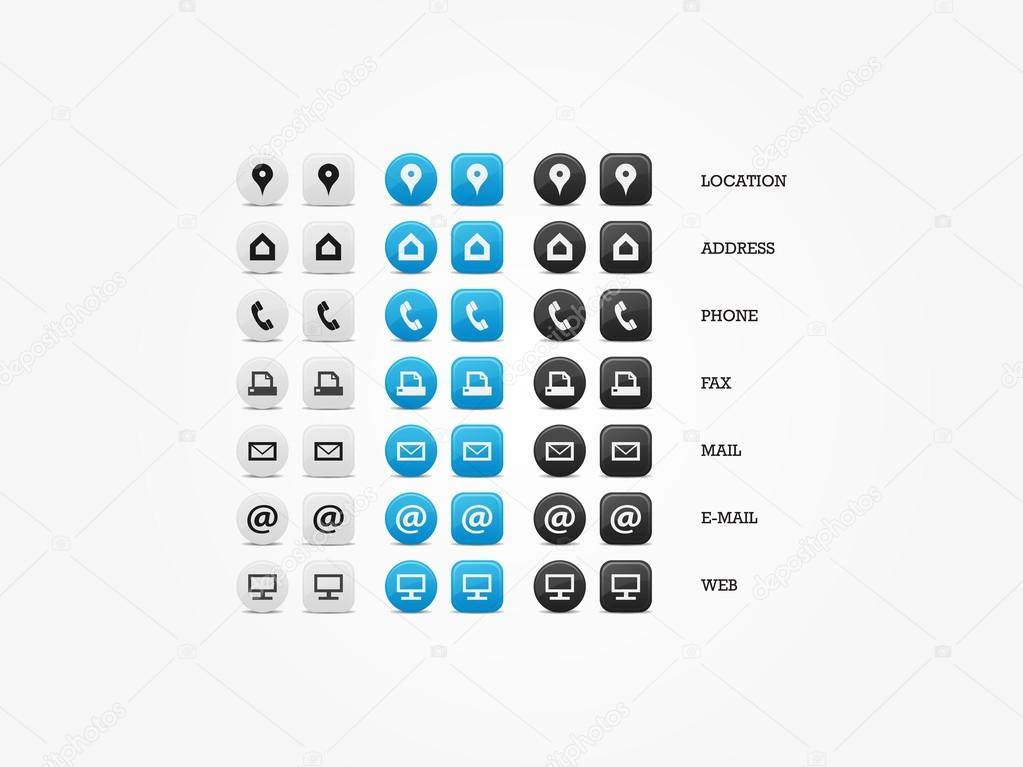 Polyvalents Pour Carte De Visite Icon Set Dicones Web Affaires Finance Et Communication Vecteur Par