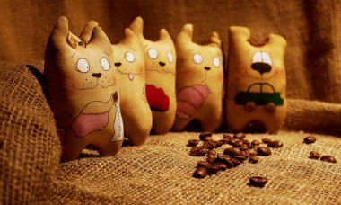 Rag doll handcrafted coffee cats