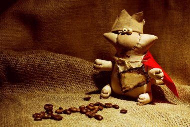 Rag doll handcrafted coffee cat