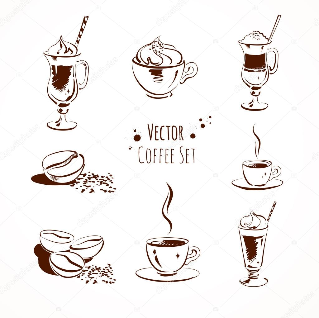 Vector coffee set. Isolated.