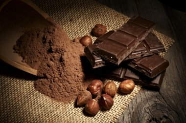 Chocolate with nuts and cocoa