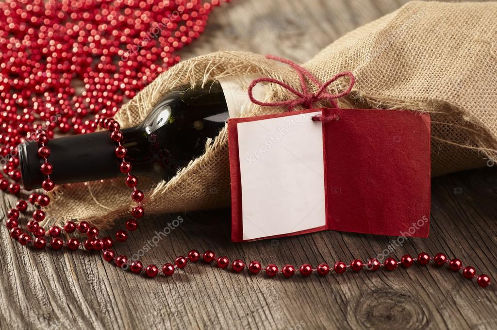 Bottle of red wine with a message