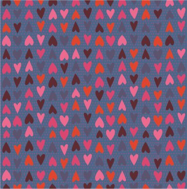 Cute seamless pattern with hand drawn hearts and polka dot background