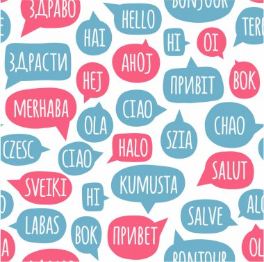 Seamless pattern with speech bubbles with the word hello in different languages