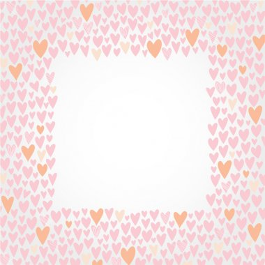 Romantic cartoon border. Cute love hearts frame for invitations