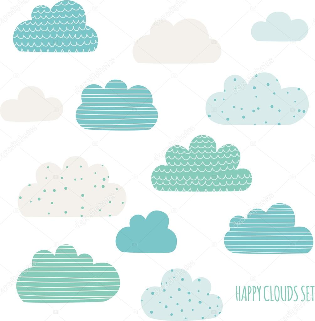 Set of cute clouds