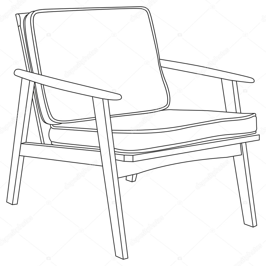 chair icon modern chair outline contour drawing illustration vector by iliveinoctober