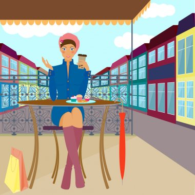 Fashionable girl sitting in the street cafe with cakes and coffee during shopping walk