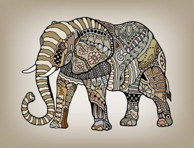 Tribal ethnic elephant with floral and geometric ornaments, detailed lacy pattern, hand drawn artwork in graphic style