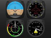 Flugzeugflug Instrumente Vektor