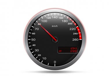 Analogue car speedometer, isolated on white