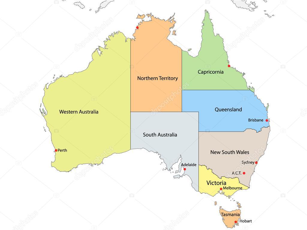 mapa da austrlia com os limites regionais internos vetor vetores de stock