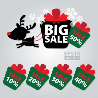 Big Sale New Year and Christmas Reindeer Sticker tags with Sale 10 - 50 percent text on Colorful Gift Box Sticker tags -  Vector