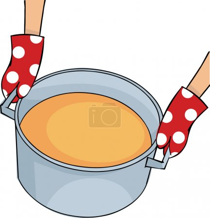 Illustration for Hands in mittens holding a large pot of soup - Royalty Free Image