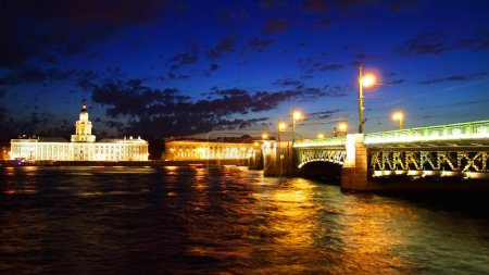 Night view of Palace Bridge. St Petersburg, Russia