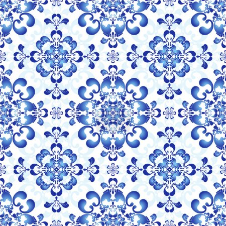 Illustration for White-and-blue elegance seamless pattern in Russian style gzhel (vector) - Royalty Free Image