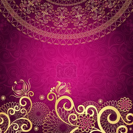 Photo pour Vintage purple frame with gold flowers (vector EPS10) - image libre de droit