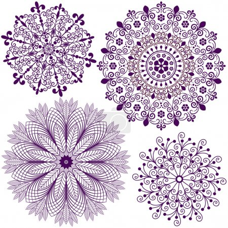 Illustration for Collection new christmas dark violet snowflakes isolated on white (vector) - Royalty Free Image