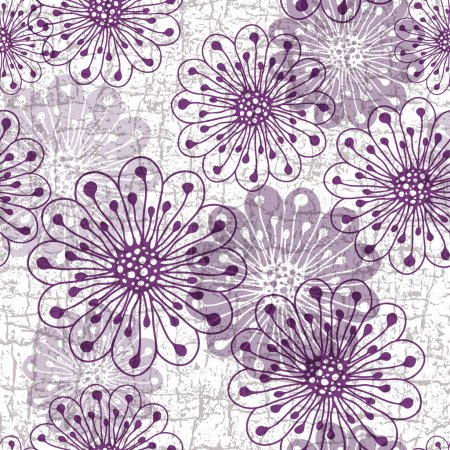 Illustration for White-gray-violet grunge pattern with violet translucent flowers (vector eps10) - Royalty Free Image