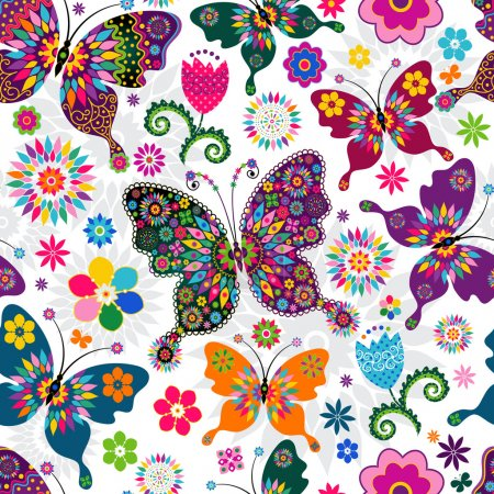 Illustration for Seamless spring white floral pattern with colorful butterflies and flowers (vector) - Royalty Free Image