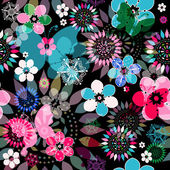 Seamless dark floral pattern with colorful flowers translucent butterflies and decorative circles (vector eps 10)