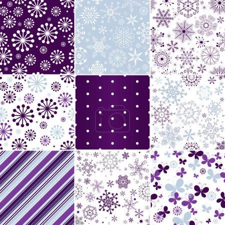 Illustration pour Collection motifs de Noël pastel sans couture avec flocons de neige, papillons et bandes (vecteur ) - image libre de droit