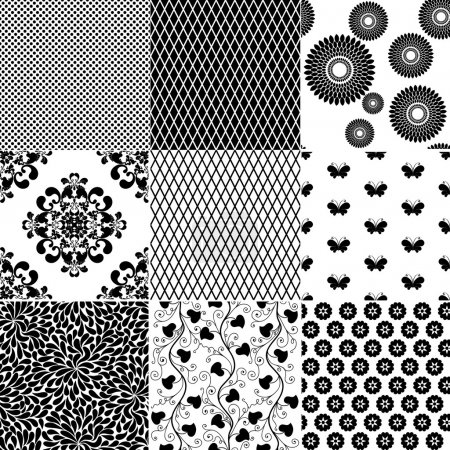 Illustration for Big collection seamless vintage monochrome patterns (vector) - Royalty Free Image