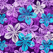 Seamless vivid floral spring pattern with translucent violet-blue-white flowers (vector EPS 10)