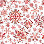 Seamless christmas pattern with red classic snowflakes (vector)
