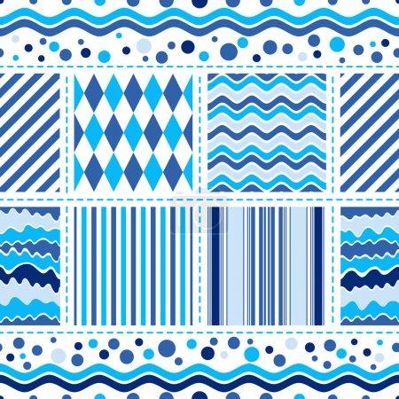 Seamless white-blue wave pattern