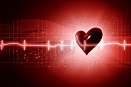Photo pour ECG milieux abstraits avec coeur humain rendu 3D - image libre de droit