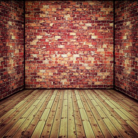 Photo for Abstract interior with old brick wall and wooden floor - Royalty Free Image
